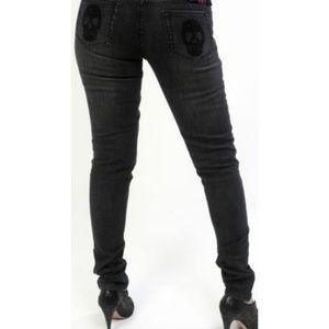 Lip Service Jett Fit Grey Skinny Jeans Skulls Back